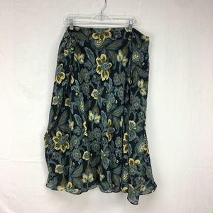 Jones New York Green Floral Print Skirt